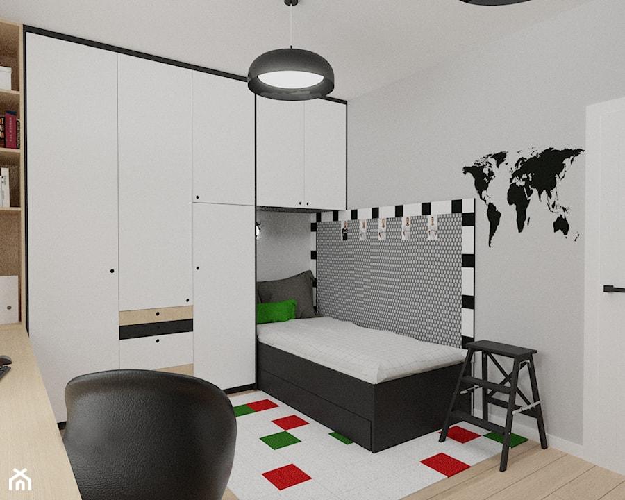 pokój dla fana piłki nożnej - Mały biały szary czarny pokój dziecka dla chłopca dla ucznia dla nastolatka, styl nowoczesny - zdjęcie od Rene Design