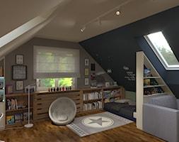 pokój chłopca - Duży szary niebieski pokój dziecka dla chłopca dla malucha dla nastolatka, styl nowoczesny - zdjęcie od Rene Design