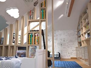 pokoj dla braci - Duży biały zielony pokój dziecka dla chłopca dla dziewczynki dla rodzeństwa dla malucha, styl nowoczesny - zdjęcie od Rene Design