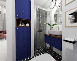 Apartament eklektyczny MINIMAXY - Średnia biała szara łazienka bez okna, styl eklektyczny - zdjęcie od M2 Architektura Marta Szolczewska - Homebook