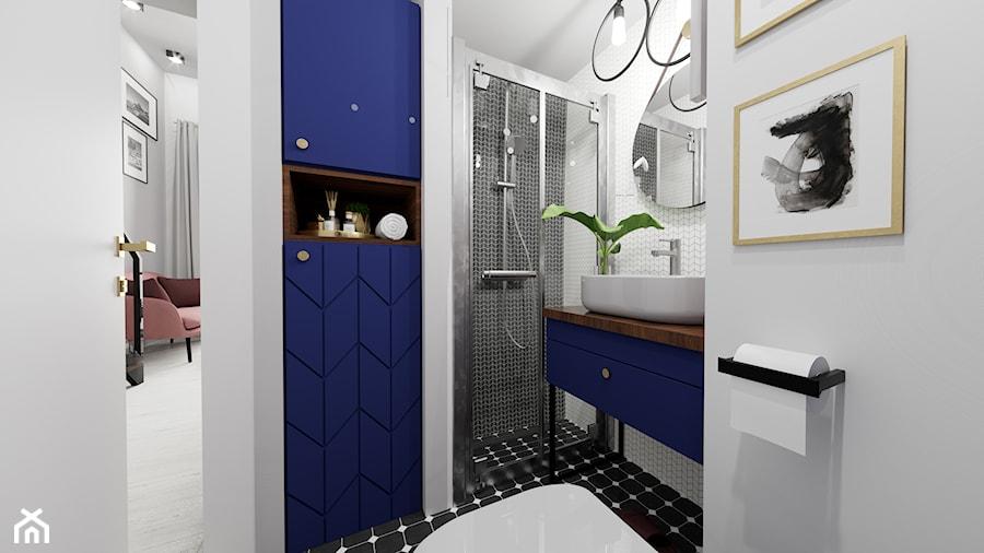 Apartament eklektyczny MINIMAXY - Średnia biała szara łazienka bez okna, styl eklektyczny - zdjęcie od M2 Architektura Marta Szolczewska