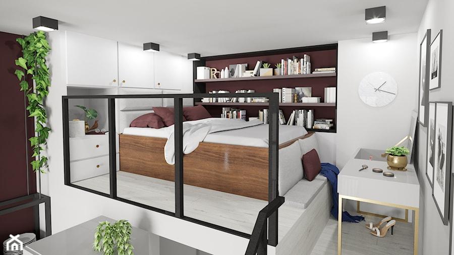 Apartament eklektyczny MINIMAXY - Mała biała sypialnia małżeńska na antresoli, styl eklektyczny - zdjęcie od M2 Architektura Marta Szolczewska