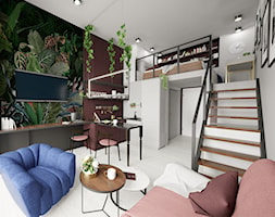 Apartament eklektyczny MINIMAXY - Mały szary biały zielony kolorowy salon z kuchnią z jadalnią z antresolą, styl eklektyczny - zdjęcie od M2 Architektura Marta Szolczewska