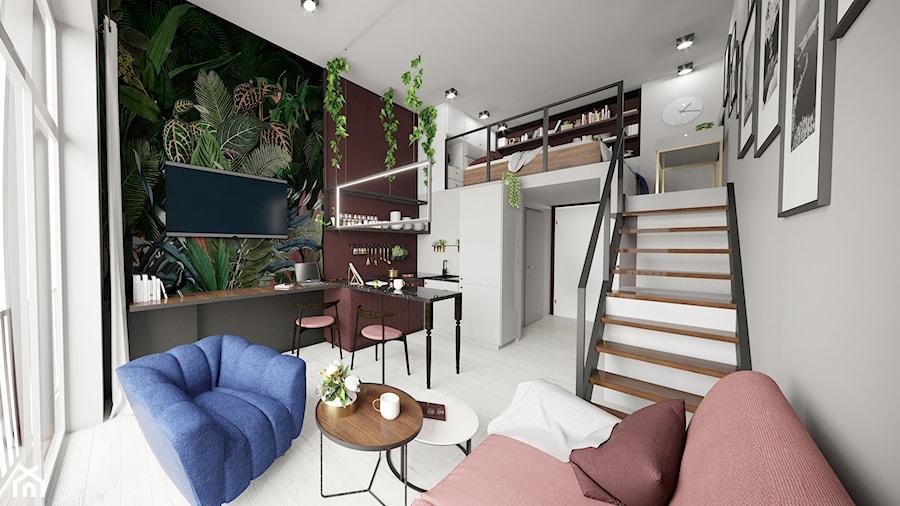 Apartament eklektyczny MINIMAXY - Mały szary biały zielony kolorowy salon z kuchnią z jadalnią z an ... - zdjęcie od M2 Architektura Marta Szolczewska