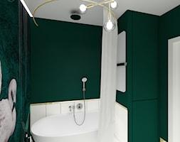 Modern glam - Mała zielona łazienka w bloku w domu jednorodzinnym bez okna - zdjęcie od Studio VANKKA.design