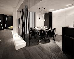 jazz house - Średnia otwarta biała czarna jadalnia w kuchni, styl nowoczesny - zdjęcie od Otwarte Studio Sztuka