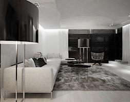 Dom B - projekt wnetrza - Duży biały salon z tarasem / balkonem, styl minimalistyczny - zdjęcie od Otwarte Studio Sztuka