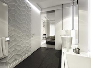 jazz house - Średnia biała czarna łazienka w domu jednorodzinnym bez okna, styl nowoczesny - zdjęcie od Otwarte Studio Sztuka