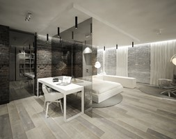 Dwa warianty strefy prywatnej - Średnie brązowe biuro kącik do pracy w pokoju - zdjęcie od Otwarte Studio Sztuka