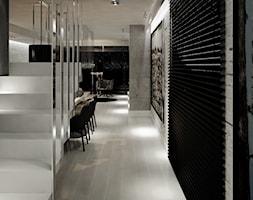 Dom B - projekt wnetrza - Małe wąskie schody jednobiegowe betonowe, styl nowoczesny - zdjęcie od Otwarte Studio Sztuka