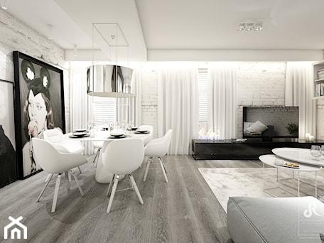 Aranżacje wnętrz - Jadalnia: deep focus - Duża otwarta biała jadalnia w salonie, styl minimalistyczny - Otwarte Studio Sztuka. Przeglądaj, dodawaj i zapisuj najlepsze zdjęcia, pomysły i inspiracje designerskie. W bazie mamy już prawie milion fotografii!