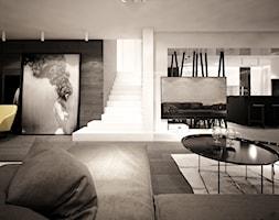 jazz house - Duży biały salon z kuchnią z jadalnią, styl minimalistyczny - zdjęcie od Otwarte Studio Sztuka