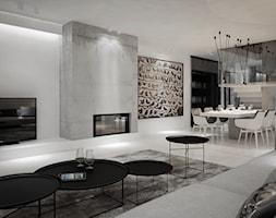 Dom B - projekt wnetrza - Średni biały salon z kuchnią z jadalnią, styl minimalistyczny - zdjęcie od Otwarte Studio Sztuka - Homebook