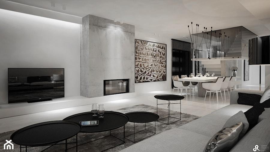 Dom B - projekt wnetrza - Średni biały salon z kuchnią z jadalnią, styl minimalistyczny - zdjęcie od Otwarte Studio Sztuka