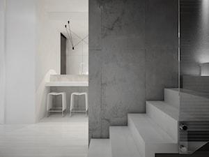 Dom B - projekt wnetrza - Średnie wąskie schody jednobiegowe betonowe, styl minimalistyczny - zdjęcie od Otwarte Studio Sztuka