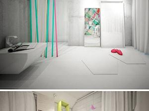 Duży biały szary pokój dziecka dla chłopca dla dziewczynki dla rodzeństwa dla ucznia dla malucha dla nastolatka, styl minimalistyczny - zdjęcie od Otwarte Studio Sztuka