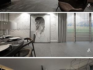 with pleasure - Średnia otwarta jadalnia w salonie, styl minimalistyczny - zdjęcie od Otwarte Studio Sztuka