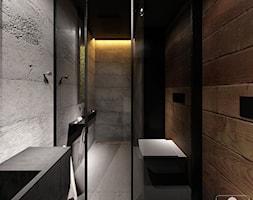 DRAFT WOOD - Średnia brązowa szara łazienka w domu jednorodzinnym bez okna, styl industrialny - zdjęcie od Otwarte Studio Sztuka
