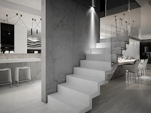 Dom B - projekt wnetrza - Średnie szerokie schody jednobiegowe szklane, styl minimalistyczny - zdjęcie od Otwarte Studio Sztuka