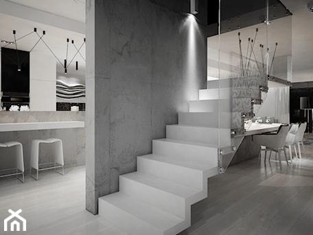 Aranżacje wnętrz - Schody: Dom B - projekt wnetrza - Średnie szerokie schody jednobiegowe szklane, styl minimalistyczny - Otwarte Studio Sztuka. Przeglądaj, dodawaj i zapisuj najlepsze zdjęcia, pomysły i inspiracje designerskie. W bazie mamy już prawie milion fotografii!