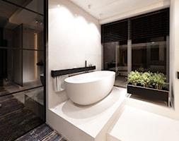 DRAFT WOOD - Średnia beżowa łazienka jako salon kąpielowy z oknem, styl industrialny - zdjęcie od Otwarte Studio Sztuka