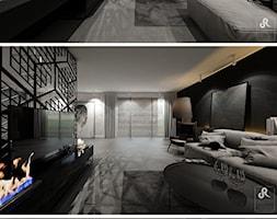 with pleasure - Duży biały czarny salon, styl minimalistyczny - zdjęcie od Otwarte Studio Sztuka