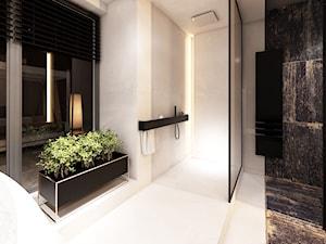 DRAFT WOOD - Duża biała łazienka w domu jednorodzinnym jako salon kąpielowy jako domowe spa z oknem, styl industrialny - zdjęcie od Otwarte Studio Sztuka