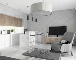 Mieszkanie Warszawa ul.Złota - Średni szary salon z kuchnią z jadalnią, styl nowoczesny - zdjęcie od MarbleDesign