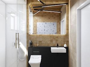 OPO - Mała biała czarna łazienka w bloku w domu jednorodzinnym bez okna, styl nowoczesny - zdjęcie od Cutout Architects