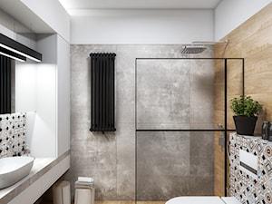 SKARB - Średnia biała szara łazienka na poddaszu w bloku w domu jednorodzinnym bez okna, styl nowoczesny - zdjęcie od Cutout Architects