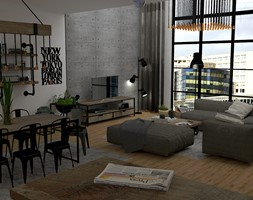 Salon z kuchnią w stylu industrialnym - zdjęcie od EM Projektowanie Wnętrz
