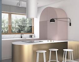 Mieszkanie lastryko Poznań - Średnia otwarta biała szara kuchnia dwurzędowa z oknem, styl minimalistyczny - zdjęcie od zonaarchitekci - Homebook