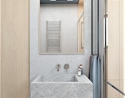 Mieszkanie lastryko Poznań - Mała szara łazienka w bloku w domu jednorodzinnym z oknem, styl minimalistyczny - zdjęcie od zonaarchitekci - Homebook