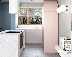 Mieszkanie surowe w Poznaniu - Średnia zamknięta szara niebieska kuchnia jednorzędowa z wyspą z oknem, styl eklektyczny - zdjęcie od zonaarchitekci - Homebook