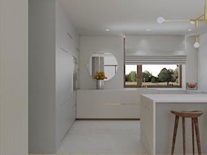 Dom pod Poznaniem - Duża otwarta biała kuchnia w kształcie litery g z oknem, styl glamour - zdjęcie od zonaarchitekci