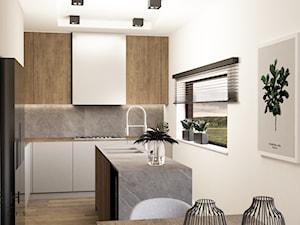 Dom pod Radomiem - Średnia otwarta biała szara kuchnia w kształcie litery l w aneksie z wyspą z oknem, styl nowoczesny - zdjęcie od Dash Interiors