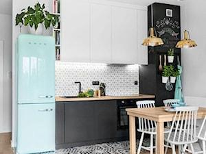 Mieszkanie na Wilanowie - Mała otwarta szara kuchnia jednorzędowa, styl skandynawski - zdjęcie od Dash Interiors