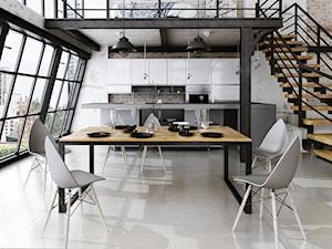 wizualizacje mebli - Duża otwarta szara kuchnia dwurzędowa z oknem, styl industrialny - zdjęcie od Grafika 3d Krawczyk Piotr