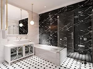 Klasyczne beże - Średnia łazienka w bloku w domu jednorodzinnym bez okna, styl nowojorski - zdjęcie od Zoom Architects