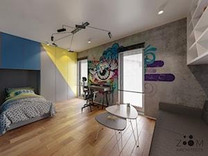 Klasyczne beże - Średni szary żółty niebieski pokój dziecka dla chłopca dla ucznia dla nastolatka, styl nowoczesny - zdjęcie od Zoom Architects