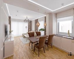 Eleganckie beże - Średni szary salon z kuchnią z jadalnią, styl nowojorski - zdjęcie od Zoom Architects