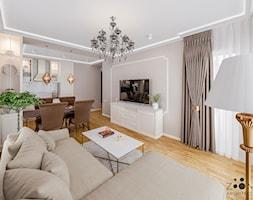 Eleganckie beże - Średni szary salon z jadalnią, styl nowojorski - zdjęcie od Zoom Architects