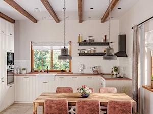 Rustykalne Mazury - Średnia otwarta szara kuchnia w kształcie litery u z oknem, styl rustykalny - zdjęcie od Zoom Architects