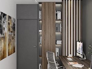 Apartament Nad Wisłą - Małe szare białe biuro domowe kącik do pracy w pokoju, styl nowoczesny - zdjęcie od LINEUP STUDIO