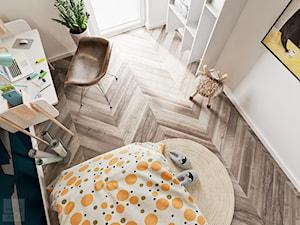 Odcienie Loftu w Krakowie - Mały biały turkusowy niebieski pokój dziecka dla chłopca dla ucznia dla malucha, styl minimalistyczny - zdjęcie od LINEUP STUDIO