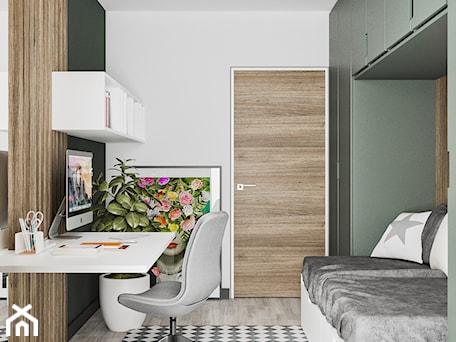 Minimal Green - Mały biały zielony pokój dziecka dla dziewczynki dla ucznia dla nastolatka, styl minimalistyczny - zdjęcie od LINEUP STUDIO
