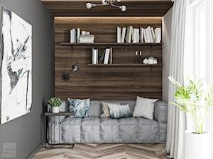 Odcienie Loftu w Krakowie - Małe szare białe biuro kącik do pracy w pokoju, styl industrialny - zdjęcie od LINEUP STUDIO