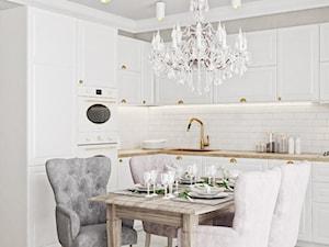 Neoklasyk Pod Krakowem - Średnia otwarta biała kuchnia w kształcie litery l, styl klasyczny - zdjęcie od LINEUP STUDIO