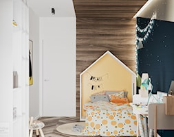 Odcienie Loftu w Krakowie - Mały biały niebieski pokój dziecka dla malucha, styl minimalistyczny - zdjęcie od LINEUP STUDIO