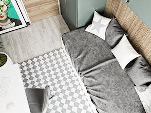 Minimal Green - Średni szary zielony pokój dziecka dla dziewczynki dla nastolatka, styl minimalistyczny - zdjęcie od LINEUP STUDIO